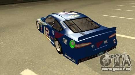 Ford Fusion NASCAR No. 2 Miller Lite für GTA San Andreas Rückansicht