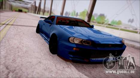 Nissan Skyline GT-R R34 für GTA San Andreas Rückansicht
