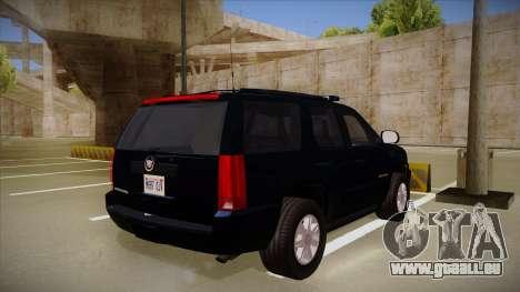Cadillac Escalade 2011 FBI pour GTA San Andreas vue de droite