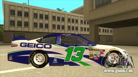 Ford Fusion NASCAR No. 13 GEICO pour GTA San Andreas sur la vue arrière gauche