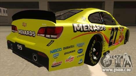 Chevrolet SS NASCAR No. 27 Menards für GTA San Andreas rechten Ansicht