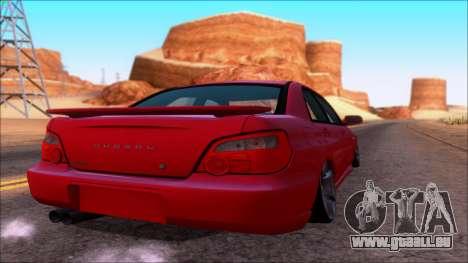 Subaru Impreza WRX pour GTA San Andreas sur la vue arrière gauche