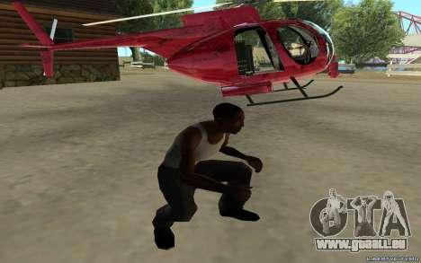 Buzzard Attack Chopper pour GTA San Andreas sur la vue arrière gauche