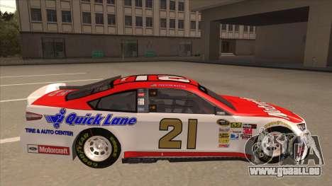 Ford Fusion NASCAR No. 21 Motorcraft Quick Lane für GTA San Andreas zurück linke Ansicht