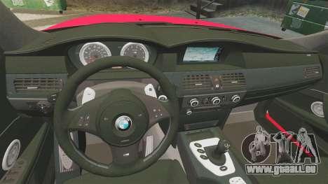 BMW M5 E60 Metropolitan Police 2010 ARV [ELS] pour GTA 4 est un côté