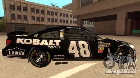 Chevrolet SS NASCAR No. 48 Kobalt Tools pour GTA San Andreas sur la vue arrière gauche