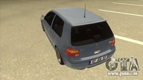 Volkswagen Golf MK4 Gti Eurolook pour GTA San Andreas vue arrière