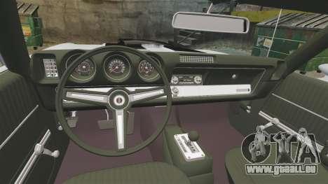Oldsmobile Cutlass Hurst 442 1969 v2 pour GTA 4 est une vue de l'intérieur