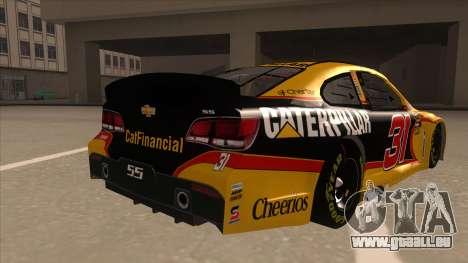 Chevrolet SS NASCAR No. 31 Caterpillar für GTA San Andreas rechten Ansicht