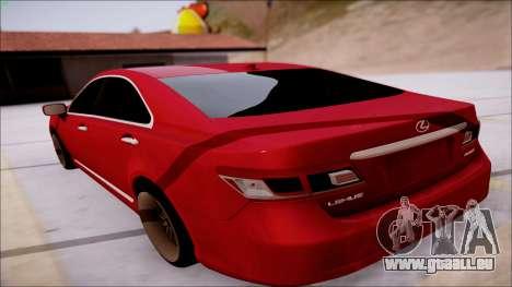 Lexus ES350 2010 pour GTA San Andreas sur la vue arrière gauche