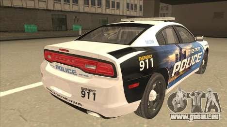 Dodge Charger Detroit Police 2013 pour GTA San Andreas vue de droite