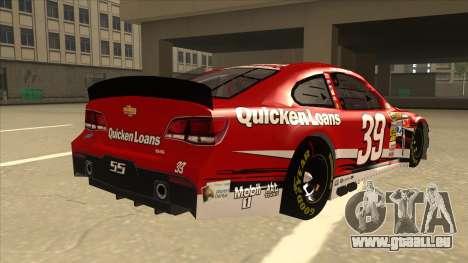 Chevrolet SS NASCAR No. 39 Quicken Loans für GTA San Andreas rechten Ansicht