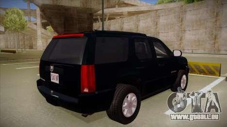 Cadillac Escalade 2011 Unmarked FBI pour GTA San Andreas vue de droite
