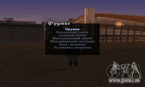 La version anglaise Menu de triche pour GTA San Andreas deuxième écran