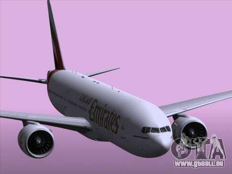 Boeing 777-21HLR Emirates pour GTA San Andreas vue de dessous