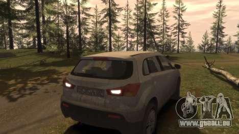 Mitsubishi ASX 2010 für GTA 4 Unteransicht
