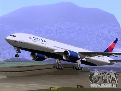 Boeing 777-200ER Delta Air Lines pour GTA San Andreas vue intérieure