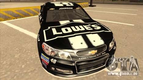 Chevrolet SS NASCAR No. 48 Kobalt Tools pour GTA San Andreas laissé vue