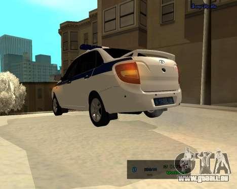 Lada Granta 2190 Polizei V 2.0 für GTA San Andreas zurück linke Ansicht