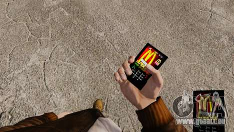Thèmes pour les marques de Fast-Food téléphones pour GTA 4 troisième écran