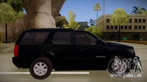 Cadillac Escalade 2011 Unmarked FBI pour GTA San Andreas sur la vue arrière gauche
