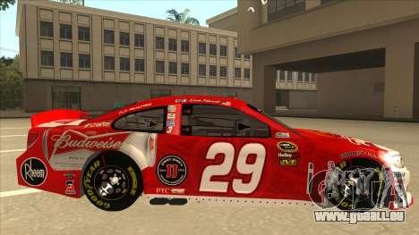 Chevrolet SS NASCAR No. 29 Budweiser pour GTA San Andreas sur la vue arrière gauche