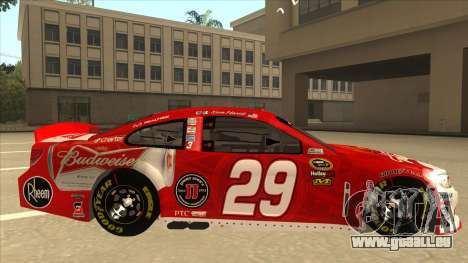 Chevrolet SS NASCAR No. 29 Budweiser für GTA San Andreas zurück linke Ansicht