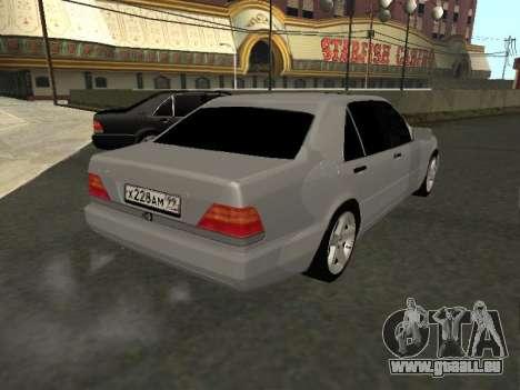 Mercedes-Benz W140 S600 pour GTA San Andreas sur la vue arrière gauche