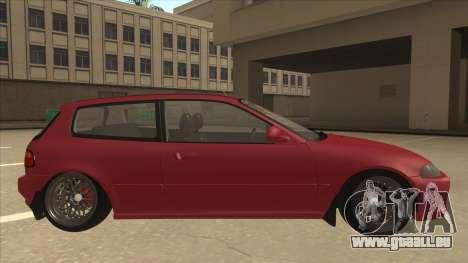 Honda Civic EG6 Camber pour GTA San Andreas sur la vue arrière gauche