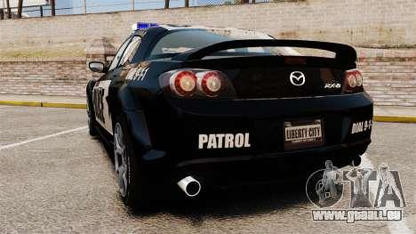 Mazda RX-8 R3 2011 Police für GTA 4 hinten links Ansicht