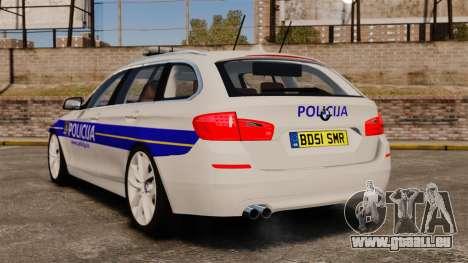 BMW M5 Touring Croatian Police [ELS] pour GTA 4 Vue arrière de la gauche