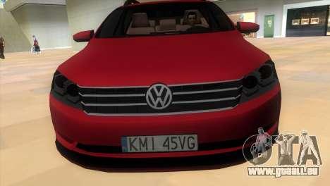 Volkswagen Passat B7 2012 pour GTA Vice City sur la vue arrière gauche