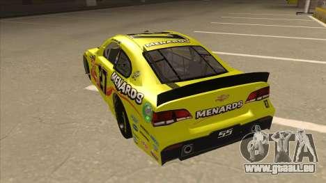 Chevrolet SS NASCAR No. 27 Menards für GTA San Andreas Rückansicht