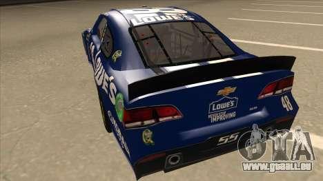 Chevrolet SS NASCAR No. 48 Lowes blue pour GTA San Andreas vue arrière