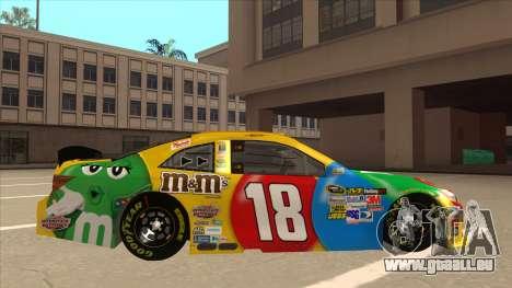 Toyota Camry NASCAR No. 18 MandMs für GTA San Andreas zurück linke Ansicht