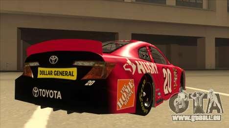 Toyota Camry NASCAR No. 20 Husky für GTA San Andreas rechten Ansicht