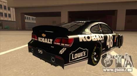 Chevrolet SS NASCAR No. 48 Kobalt Tools pour GTA San Andreas vue de droite