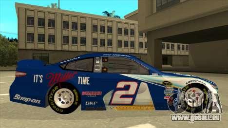 Ford Fusion NASCAR No. 2 Miller Lite für GTA San Andreas zurück linke Ansicht