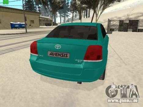 Toyota Avensis 2.0 16v VVT-i D4 Executive pour GTA San Andreas sur la vue arrière gauche
