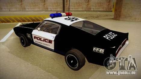 Shelby Mustang GT500 Eleanor Police für GTA San Andreas Rückansicht