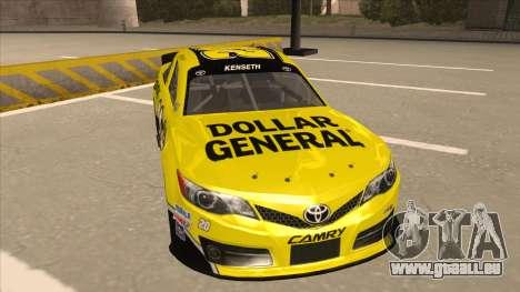 Toyota Camry NASCAR No. 20 Dollar General für GTA San Andreas linke Ansicht