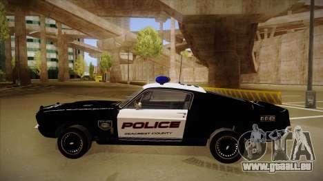 Shelby Mustang GT500 Eleanor Police pour GTA San Andreas sur la vue arrière gauche
