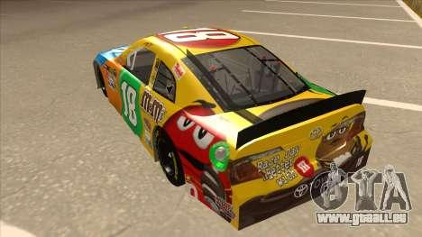 Toyota Camry NASCAR No. 18 MandMs für GTA San Andreas Rückansicht
