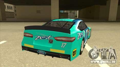 Ford Fusion NASCAR No. 17 Zest Nationwide für GTA San Andreas rechten Ansicht