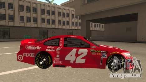 Chevrolet SS NASCAR No. 42 Clorox für GTA San Andreas zurück linke Ansicht