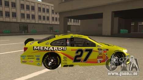 Chevrolet SS NASCAR No. 27 Menards pour GTA San Andreas sur la vue arrière gauche