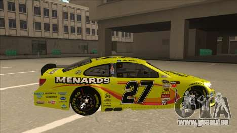 Chevrolet SS NASCAR No. 27 Menards für GTA San Andreas zurück linke Ansicht
