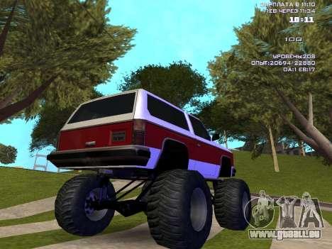Rancher Monster pour GTA San Andreas sur la vue arrière gauche