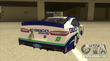Ford Fusion NASCAR No. 13 GEICO für GTA San Andreas rechten Ansicht