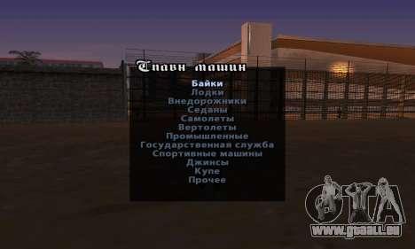 La version anglaise Menu de triche pour GTA San Andreas troisième écran